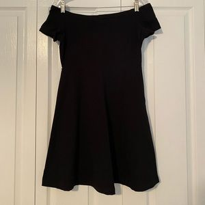 Black off-the-shoulder cotton dress; Size Small